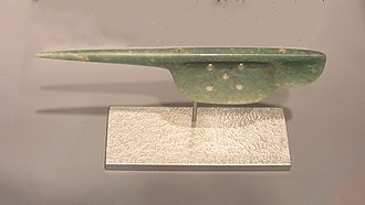 "Bloodletting in Mesoamerica - Olmec-style jadeite ""spoon"", believed to be a perforator, from Guerrero. 1500-300 BC"