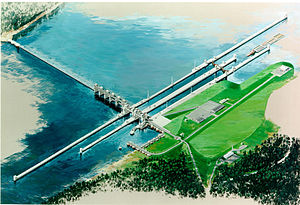Olmsted Locks and Dam - Rendering of Olmsted Locks and Dam.