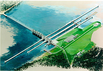 Olmsted Locks and Dam - Rendering of Olmsted Locks and Dam