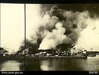 Battle of Palembang - Port facilities at Oosthaven was destroyed by scorched-earth policy