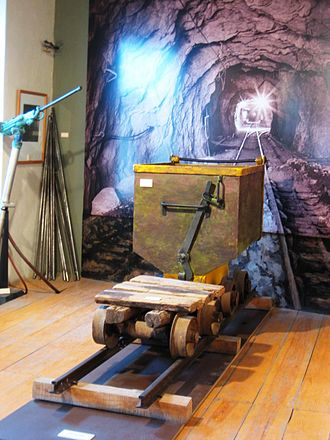Ore - Cart for carrying ore from a mine on display at the Historic Archive and Museum of Mining in Pachuca, Mexico