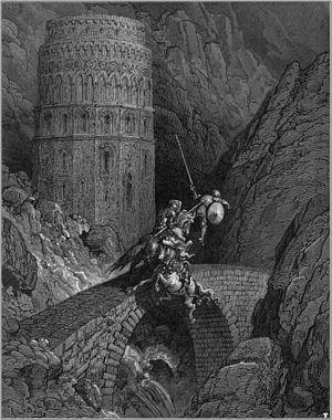 Rodomonte - Rodomonte defending the bridge; illustration by Gustave Dore to Orlando furioso