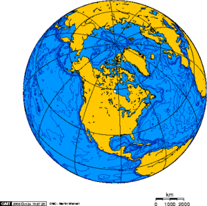 Geography of North America - Global view centered on North America