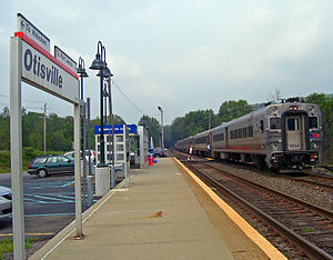 Otisville (Metro-North station) - Hoboken-bound train arriving at Otisville station.