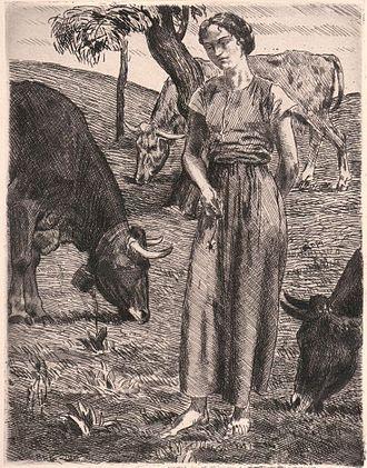 Otto Richard Bossert - The Shepherdess, etching, 1916