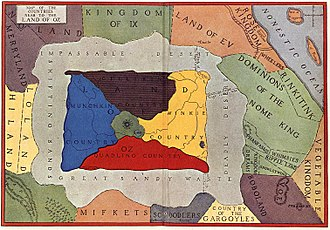 Land of Oz - The official map of Oz and its neighbouring kingdoms. The regions beyond Oz's surrounding deserts were introduced after the first Oz book.