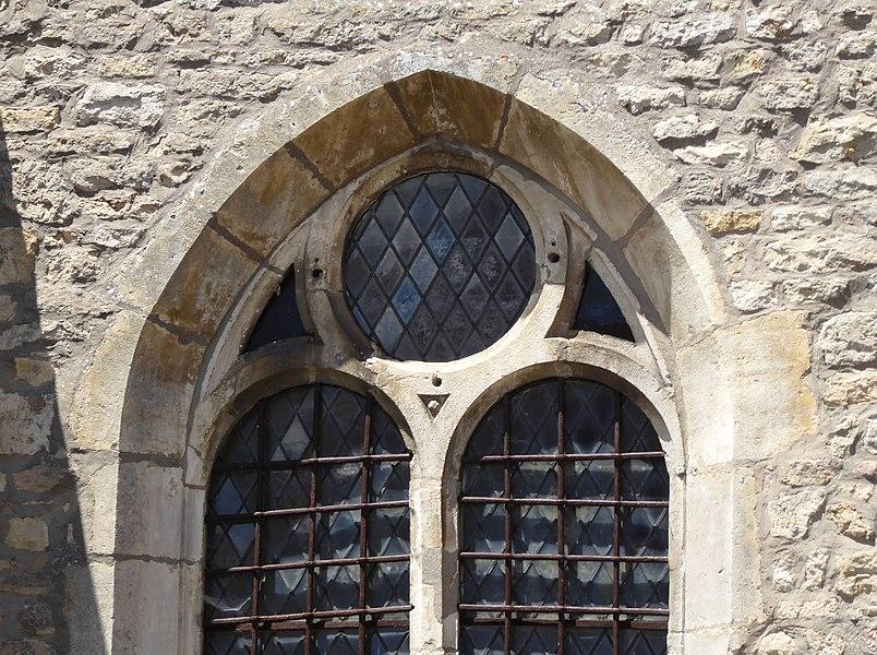 Détail de l'église Saint-Brice d'Autreville dans le département des Vosges en France.
