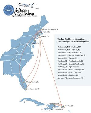 Boston-Maine Airways - PANAM Destinations as 2005 from flypanam.com website