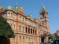 City Hall, constructed in 1893, destroyed by fire in 1895, rebuilt in 1901