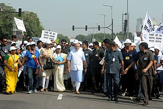 Swachh Bharat mission - India's prime minister Modi at a rally to promote Swachh Bharat Mission in 2014