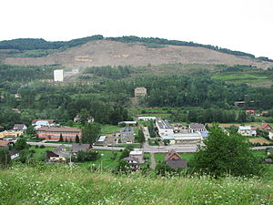 Klęczany, Nowy Sącz County - Rock mine as seen from the opposing mountain
