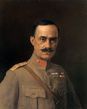 Nikolaos Plastiras - Nikolaos Plastiras as colonel, painting by Georgios Prokopiou (1921)