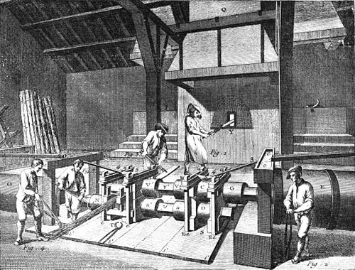 PSM V38 D329 Interior of an early slitting mill.jpg