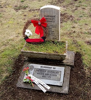 Wesley Everest - Grave of Wesley Everest 11-11-2017, Sticklin-Greenwood Memorial Park, 1905 Johnson Rd., Centralia, Washington, USA. His gravesite is on the National Register of Historic Places.