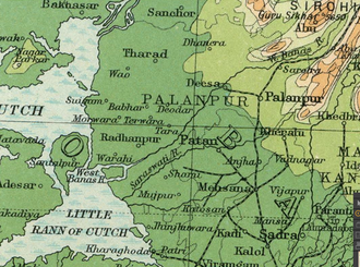 Palanpur State - Map of Palanpur State area in 1922