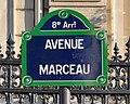 Panneau de l'avenue Marceau à Paris (janvier 2020).jpg