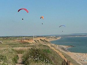Barton on Sea - Paragliders at Barton cliffs