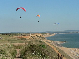 Barton on Sea - Paragliders at Barton cliffs