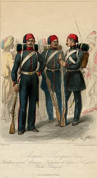 Ottoman Army (1861–1922) - Image: Paris Ernest Bourdin, 1854 Raffet, Auguste (artist) image 4th in collection of 4 col. lith. pl. by Riffault after Raffet; three uniform figures of Turkish infantrymen, standing, with more in background
