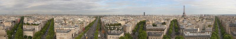 Vue panoramique de Paris, depuis le sommet de l'Arc de Triomphe.