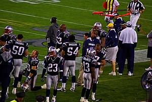 2007 New England Patriots season - Patriots players on the sideline during the 2007 preseason