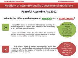 Constitution of Malaysia - Diagram comparing assembly and street protests under the Act