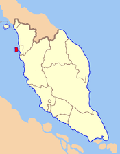 Map of Malaysia with Penang Island highlighted