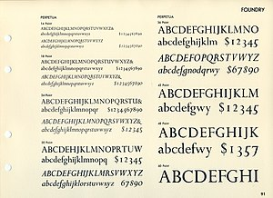 Perpetua (typeface) - Perpetua in a metal type sample. Note the flourishes on italic 'B', 'D', 'P', 'Q' and 'R'
