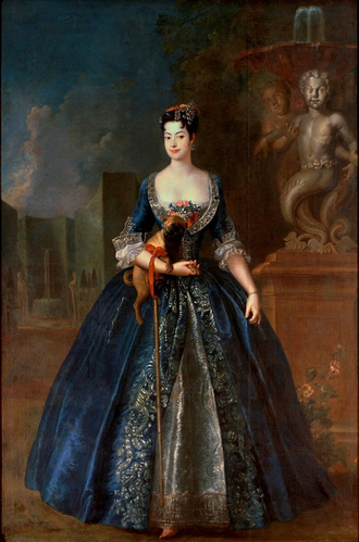 Anna Karolina Orzelska - Anna Orzelska in the gardens of the Blue Palace at Warsaw, by Antoine Pesne, ca. 1728.