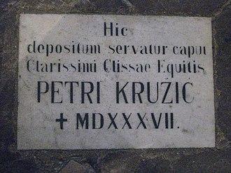Petar Kružić - Petar Kružić grave plaque in Trsat