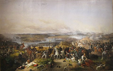 Pyotr Bagration giving orders during the Battle of Borodino while being wounded Peter von Hess 002.jpg