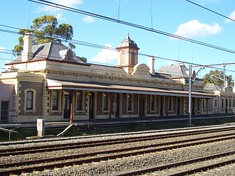 Main Suburban railway line - Former Petersham railway station on the Up Main. Replaced by a station on the Local tracks.