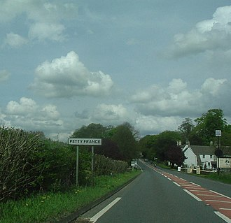 Petty France, Gloucestershire - Entering the hamlet of Petty France from the south along the A46