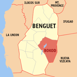 Map of Benguet showing the location of Bokod