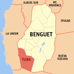 Map of Benguet showing the location of Tuba