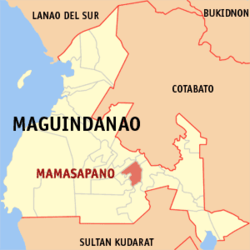 Map of Maguindanao with Mamasapano highlighted
