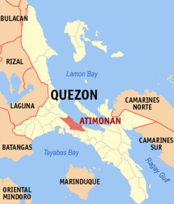 Map of Quezon showing the location of Atimonán.