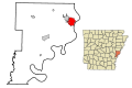 Phillips County Arkansas Incorporated and Unincorporated areas Helena Highlighted.svg