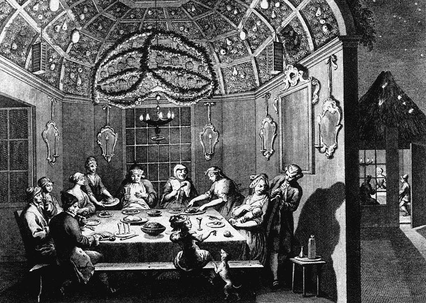 ציור של ברנאר פיקאר המתאר יהודים הולנדים בני העדה הפורטוגזית-ספרדית היושבים בסוכה בחג הסוכות