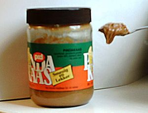 Glass of peanut butter from the Netherlands, w...