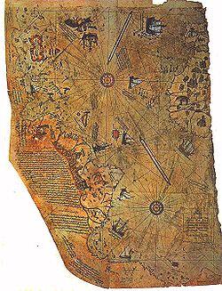 Fragmento del mapa de Piri Reis, donde figuran unas islas en aproximada consonancia con las Malvinas