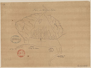 Félou Falls - Historic plan of the Félou Falls, 1749