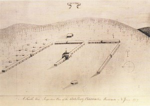 Pluckemin Continental Artillery Cantonment Site - 1770s drawing of the Pluckemin Cantonment from Captain John Lillie. The large building in the center was known as the Artillery Academy, now noted as America's First Artillery training academy, the forerunner to West Point.