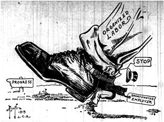 Labor unions in the United States - Political cartoon showing organized labor marching towards progress, while a shortsighted employer tries to stop labor (1913)