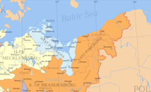 "Swedish Pomerania - The former Duchy of Pomerania (center) partitioned between the Swedish Empire and Brandenburg after the Treaty of Stettin (1653). Swedish Pomerania (""West Pomerania"") is indicated in blue, Brandenburgian Pomerania (""East Pomerania"") is shown in orange."