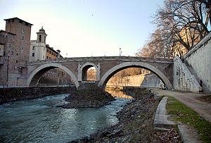 Roman bridge - Pons Fabricius in Rome, Italy