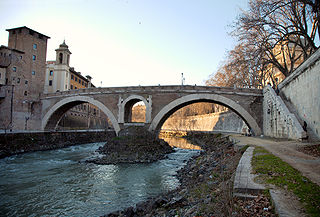 Pons Fabricius the oldest Roman bridge in Rome, Italy, still existing in its original state. Its the only one of two bridges that spans half Tiber River together with Pons Cestius