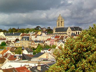Pontoise - A view of the cathedral of Saint-Maclou, from the Garden of Five Senses, on the promontory of the castle