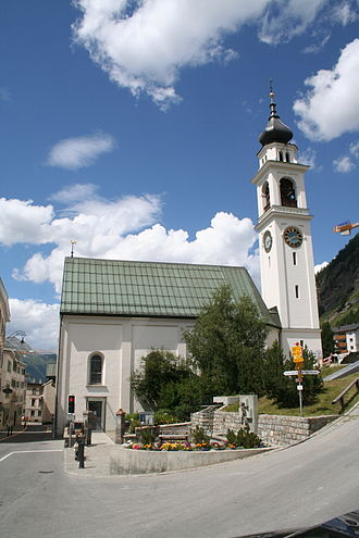 Pontresina - Reformed church of Niculò/Nikolaus, built in 1640, rebuilt in 1718, tower from 1887.
