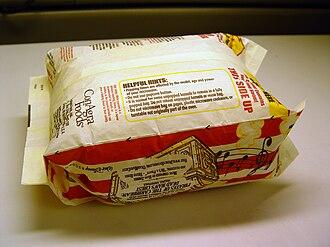 Microwave popcorn - Microwave popcorn bag, popped state